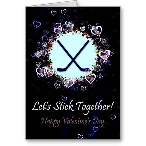 Let's Stick Together #Hockey Valentine's Day Card.  Easy to customize with your own text! $3.50. #ValentinesDay
