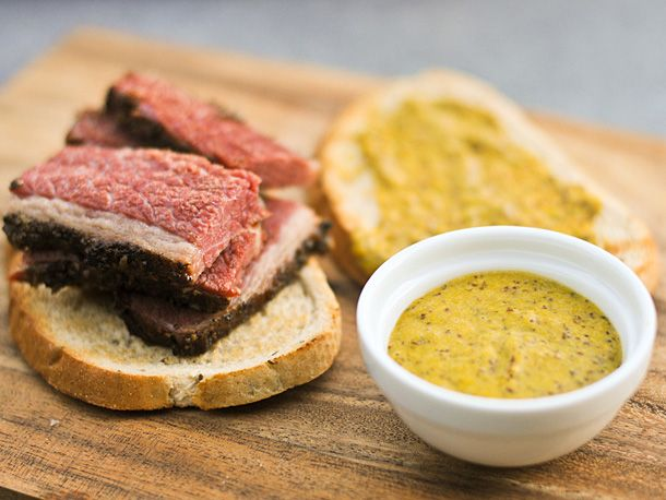 Spicy Beer Mustard. This mustard has quite a bite when tried alone, eaten in a sandwich, it has just the right amount of spice with a very slight sweetness that was an excellent complement to salty meats like pastrami.