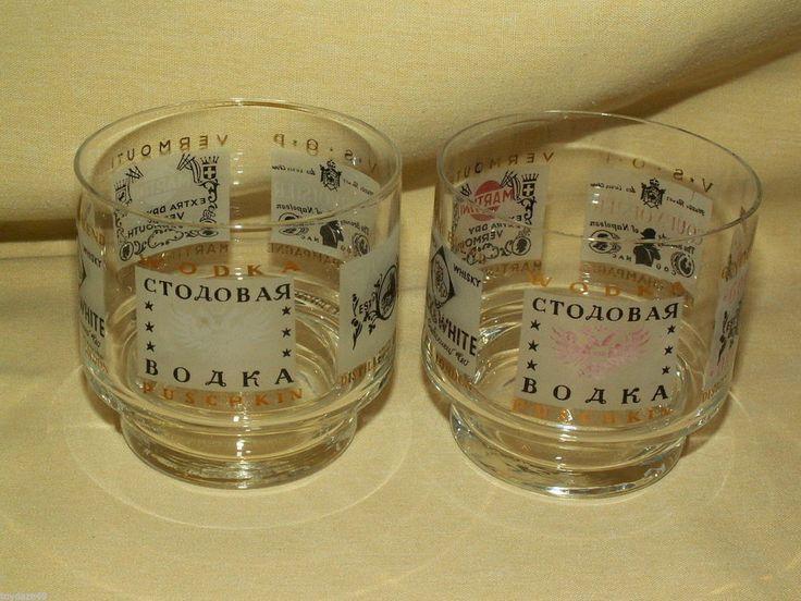 VINTAGE BARWARE SET 2 GLASS WHISKY GLASGOW PUSCHKIN BRANDY NAPOLEON ROSSI VODKA