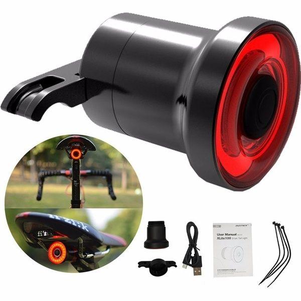 XLite100 Waterproof Bicycle Smart Brake Sense LED USB Tail Light Rear Lamp