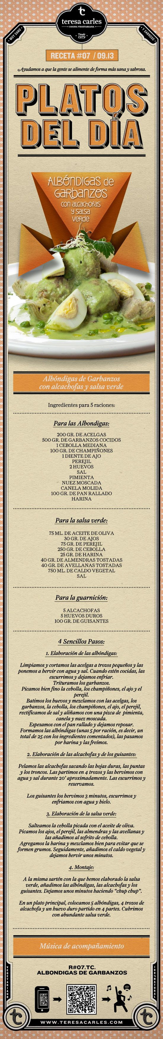 RECETA #07 / 09.13 Albóndigas de Garbanzos con Alcachofas y Salsa Verde. Teresa Carles - www.teresacarles.com