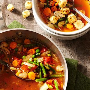 Garden Soup with Toasted Cheese Croutons From Better Homes and Gardens, ideas and improvement projects for your home and garden plus recipes and entertaining ideas.