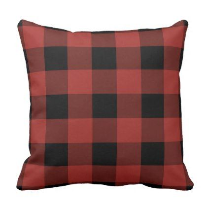 Buffalo Check Plaid Red and Black Rustic Throw Pillow - red gifts color style cyo diy personalize unique