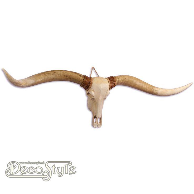 Beeld Longhorn Schedel - Witte Horens (169CM)  Zeer gedetailleerd beeld van een longhorn schedel. Zeker niet van echt te onderscheiden. Originele Schedels zijn gebruikt als mal. Prachtig om aan de wand te hangen.  Materiaal: Handbeschilderd Polystone   Kleur: Creme / Bruin  Afmetingen:  Hoogte: 40 cm Breedte: 169 cm Diepte: 20 cm  A RESIN LONGHORN SKULL (WHITE HORNS)