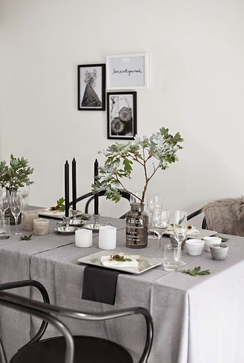 Dining Room Table Grey Plates Tableware Decor