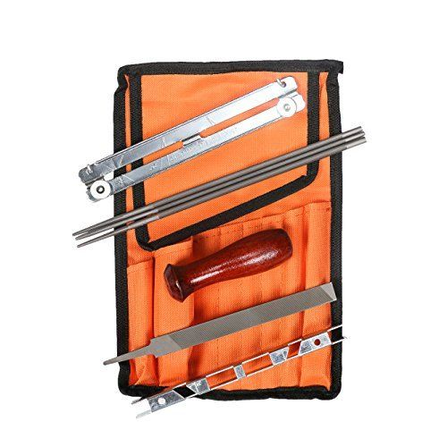 """TOOLS SPECIFICATION: 3 Round Files Sizes: 5/32""""-4.0mm with a 3/8"""" LP Pitch 3/16""""-4.8mm with a 325"""" Pitch 7/32""""-5.5mm with a 3/8"""" Pitch - 3/8"""" Hardwood handle - 6"""" Flat File - Durable Pouch 10.5"""" x 7"""". ADVANCE DESIGN: The pouch kit is made of high quality canvas with 8 pieces versatile function tools, Lightweight , Durable , practical and water-resistant to be used under any work environment."""