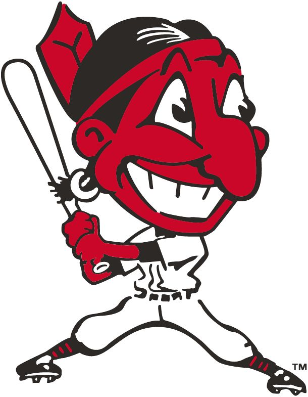 Cleveland Indians Primary Logo (1946) - Chief Wahoo batting - a red Native American with a large cartoon head grinning with a red feather sticking out the back of his black hair