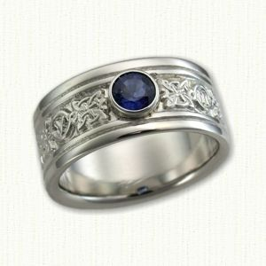 Celtic Custom 4 Point Knot Band with Bezel Set Round Blue Sapphire