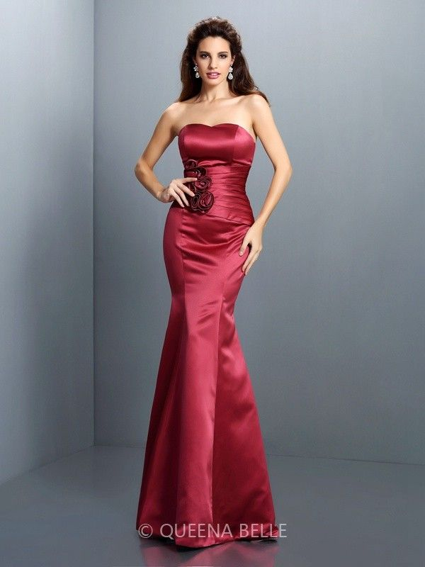 Trumpet/Mermaid Strapless Sleeveless Hand-Made Flower Floor-Length Satin Dresses