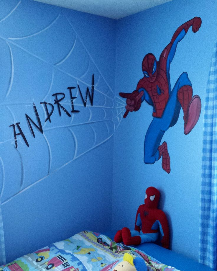 hand painted spider man for super hero bedroom with his name tangled in the web.