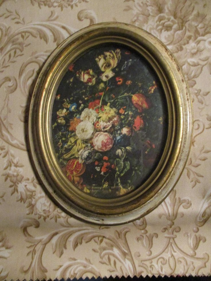 Vtg Creamy Tan Gold Accents Color Syroco Style Florentine Framed Cabbage Roses Floral Bouquet Print Shabby Oval Picture Frame, Italy by treasuretrovemarket on Etsy