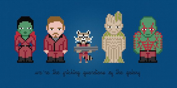 Guardians of the Galaxy Movie Characters - Cross Stitch Pattern This is a digital PDF file of a cross stitch pattern. You will need to have a
