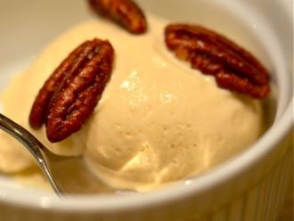 maple syrup ice cream with salty buttered pecans