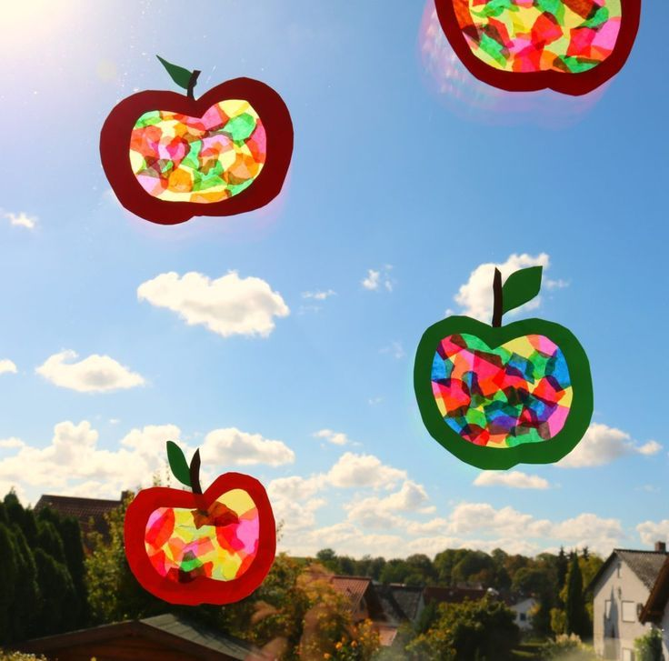 DIY, Kids crafts in autumn, apple window picture
