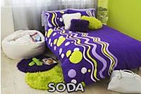 Purple and lime green Soda bedding for a teen or tween girl's room.