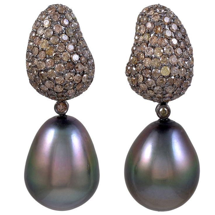 champagne diamond jewelry | Champagne Diamond Tahitian Pearl Earrings at 1stdibs