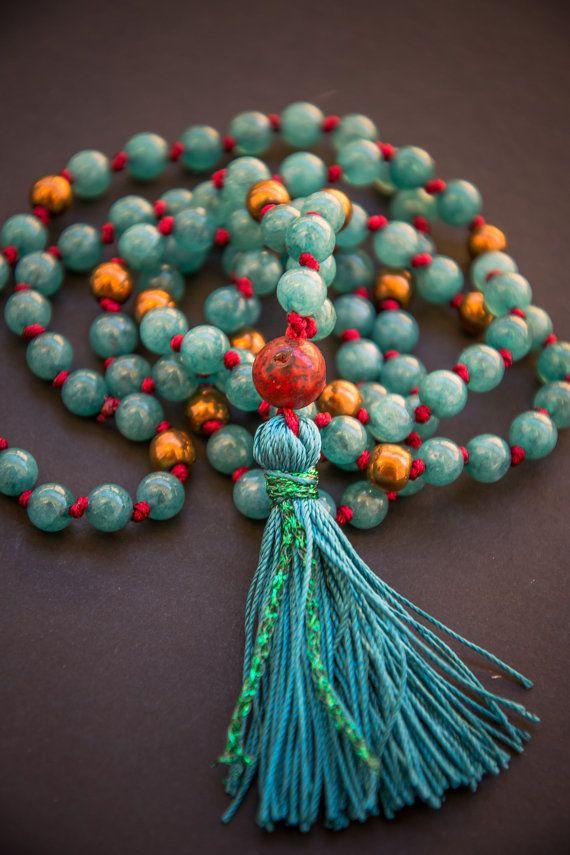 GREEN TARA MALA long jade necklace // Bodhi seed / Silk tassel / hematite / jade in green / Yoga Necklace / Yoga Mala