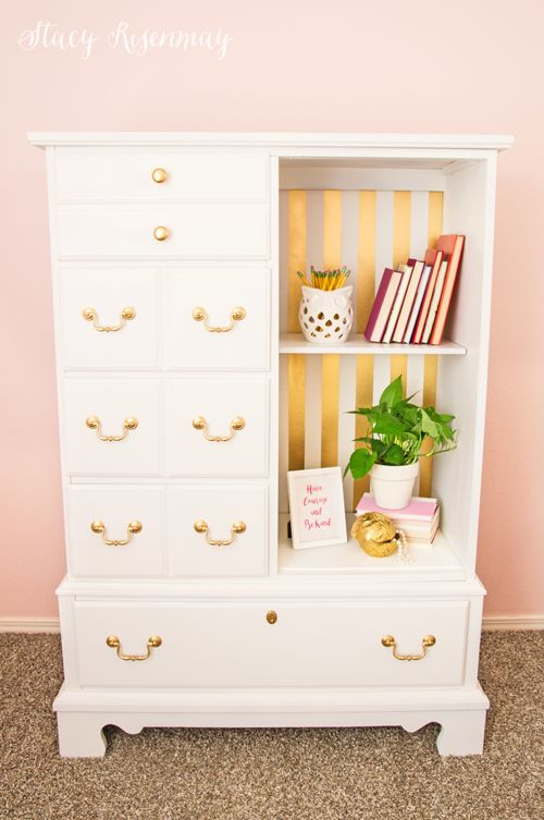 Gold and white dresser. I like the door removed to show shelves! #preppaintpull