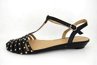 Grote maten zomerse sandalen met studs - Zwarte leatherlook sandalen - kleine sleehak - uit goedkopere Just A Joke collectie - beperkt aantal