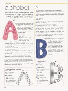 Pattern: Crochet Alphabet Letters. FREE PATTERNS 12/14.