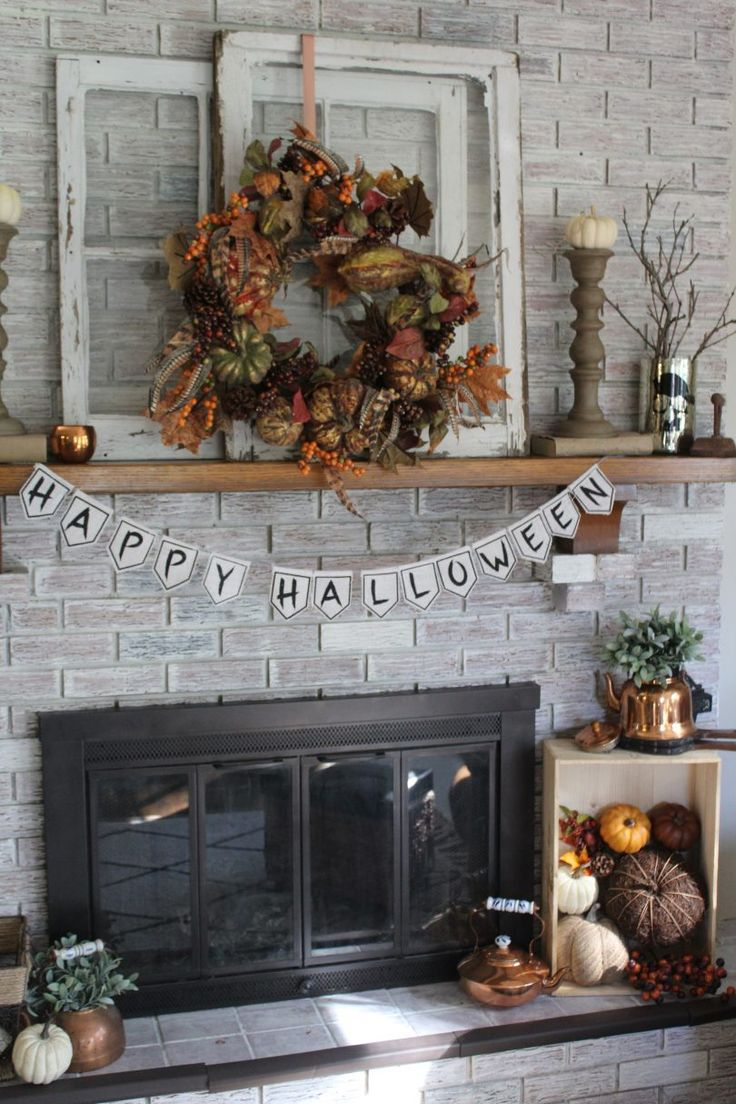 Halloween Mantel with Copper Accents Copper accents