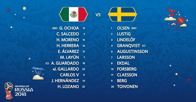 Starting Lineup Mexico Vs Sweden Live Stream Fifa World Cup Fifa World Cup Match