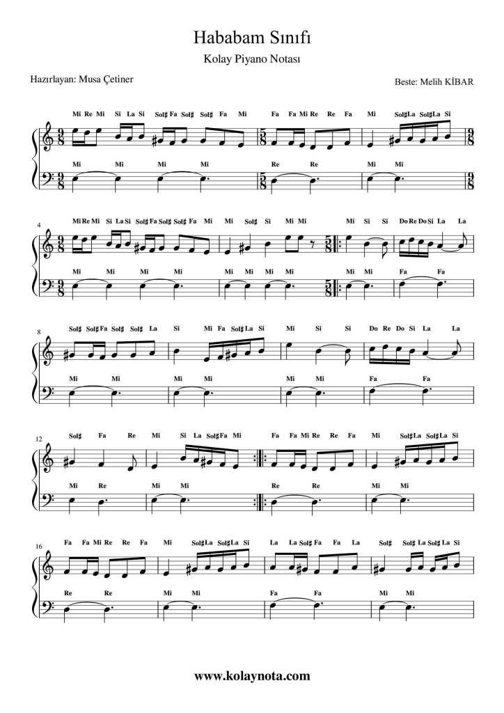 Hababam Sinifi Kolay Piyano Notasi Kolaynota Com Nota Arsivi Piyano Notalara Dokulmus Muzik Muzik Notalari