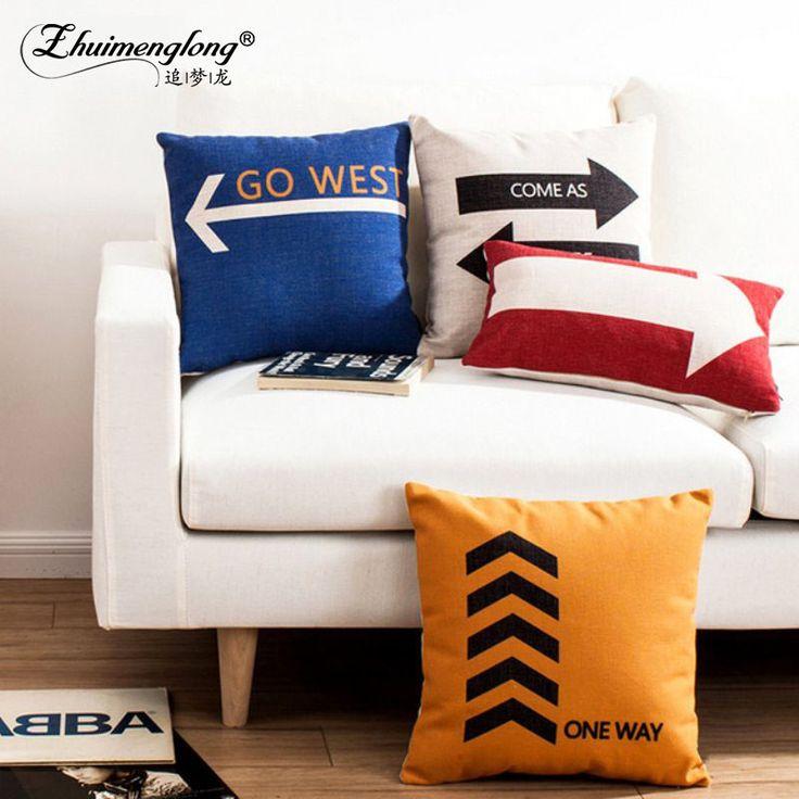 Zhuimenglong Arrow Geometric Cushion Covers Nordic Geometric Rhombus Triangles Mountain Pillow Cover Linen Beige Pillow Case #Affiliate
