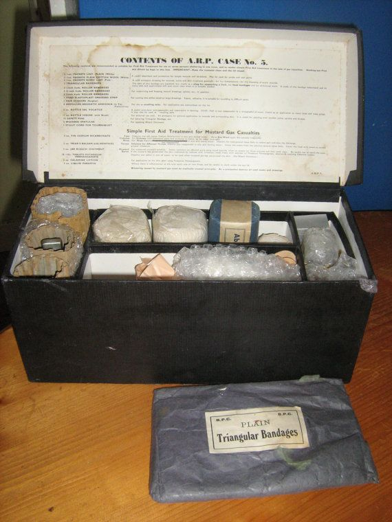 This is a Householders Air Raid Precautions First Aid Outfit - Made In England.    This is a wonderful collector piece consists of a original Air Raid Precautions First Aid Outfit Box with contents. I have not checked to see if the whole list is there, but what you see in the pictures will be included with box, there is even a glass eye bath saying opthrey safe guards sight on the bottom. Please note there are also contents in some of the cantainers still, so be aware near children and keep…