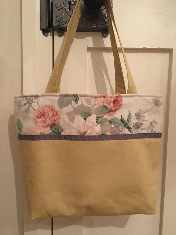 Tote Bag, tote, floral tote bag, stylish bag, vintage fabric bag, Sanderson fabric, original, gift for her, weekend bag, handbag, shoulder