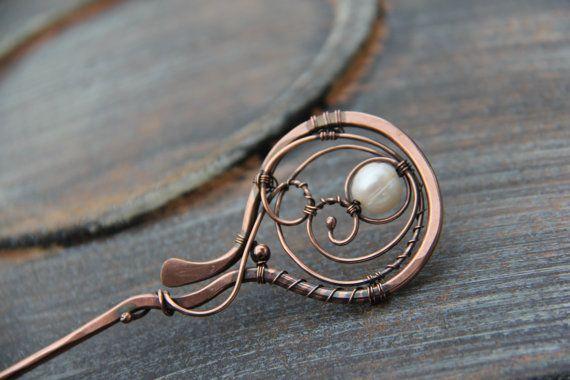 """Hair stick, hair pin, hair fork copper and pearl hair stick """"Morning dew"""", wire wrap hair accessories, bridal hair"""
