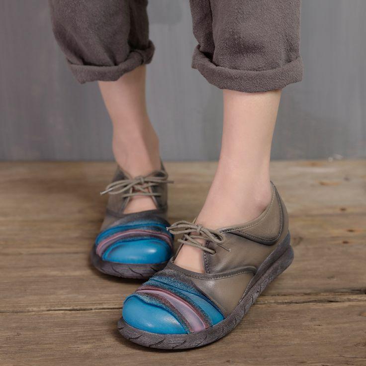2017 Весна ручной натуральная кожа; женские туфли на платформе и танкетке обувь плюс размер круглый носок на шнуровке дизайнерская Повседневная Винтажная обувь женщина