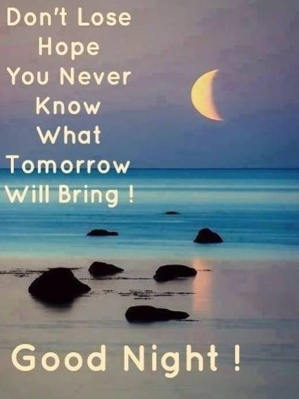 Don't lose Hope. You never know what tomorrow will bring! Good Night Everyone and Sweetest Dreams to You. ✨