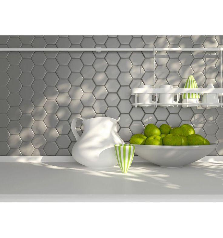 Hexagon duży, jasno szary, matowy - Płytki ceramiczne - Sklep z płytkami Mozaikowe.pl