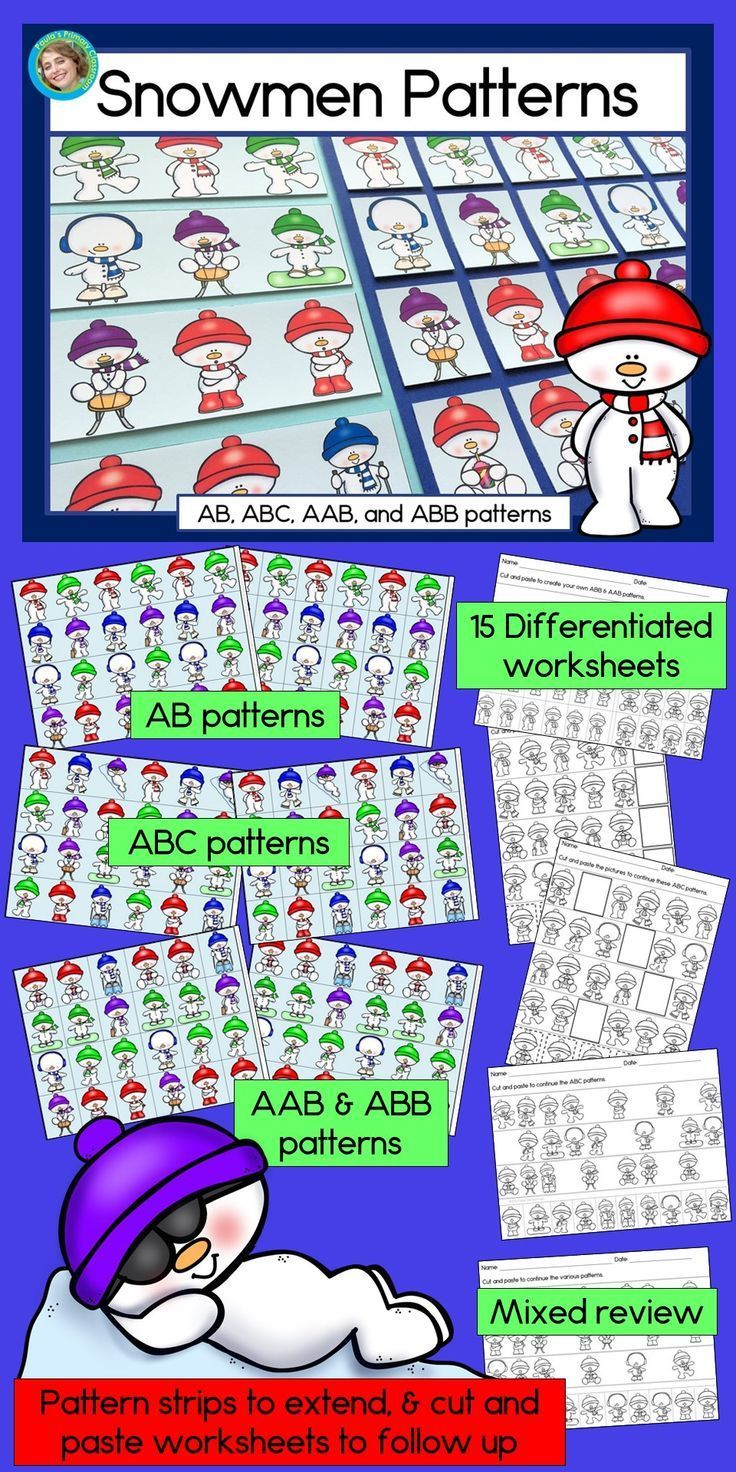 Snowmen Make Learning And Practicing Patterns A Lot Of Fun Perfect For Daycare Preschool Prek And Kinde Abb Patterns Abc Patterns Math Centers Kindergarten [ 1472 x 736 Pixel ]