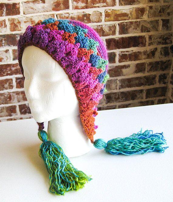 Crochet Leafy Tassel Hat  Crocodile Stitch Ear Flap Hat