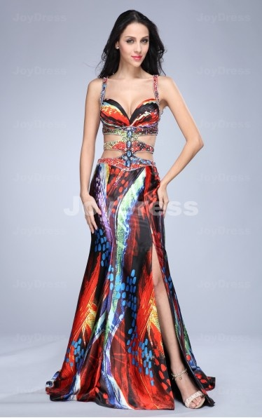 Colourful Prints Mermaid Shoulder Straps Floor-length Dress