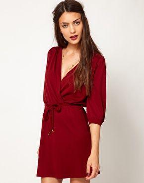 berry wrap jersey dress. perfect color for fall! http://pinterest.com/treypeezy http://twitter.com/TreyPeezy http://instagram.com/treypeezydot http://OceanviewBLVD.com