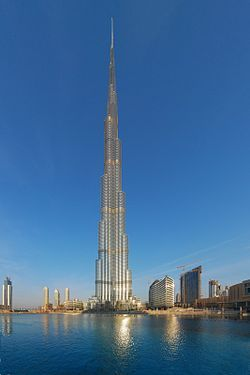 At a height of 2,722 ft the Burj Khalifa in Dubai, United Arab Emirates is the tallest building in the World