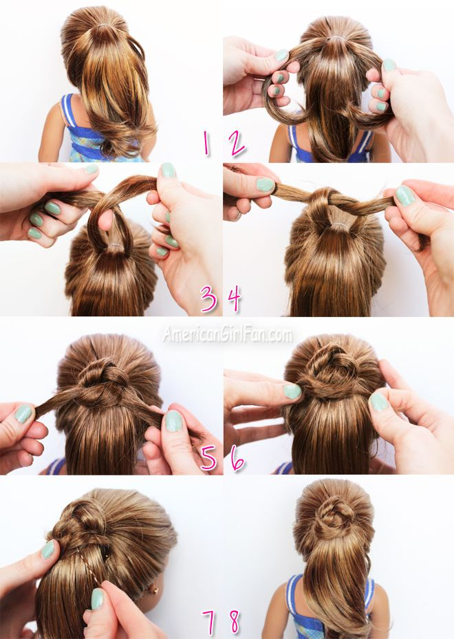 American Girl Doll Hairstyle Fancy Ponytail Steps  http://puppet-master.com - THE VENTRILOQUIST ASSISTANT
