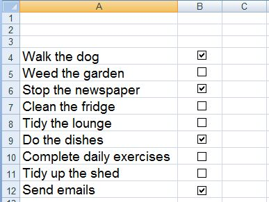 How to insert, create, align and use a check box to create a to do list in Excel 2007 and Excel 2010