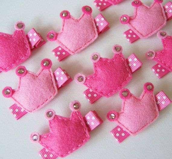 Pretty Pink Felt Princess Crown Hair Clip - You Pick 1 Hot Pink or Light Pink Crown Clippie - Perfect pink clippies for princesses on Etsy, $3.50