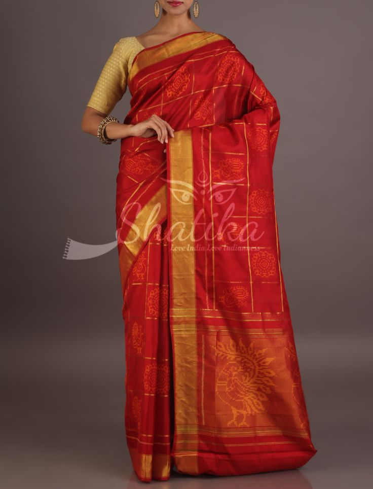 Sumona Ravishing Red With Peacock Festoon Gold Bordered Pure Patola Silk Saree
