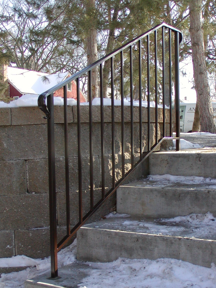 """Iron step railing with simple 1/2"""" square spoke design"""
