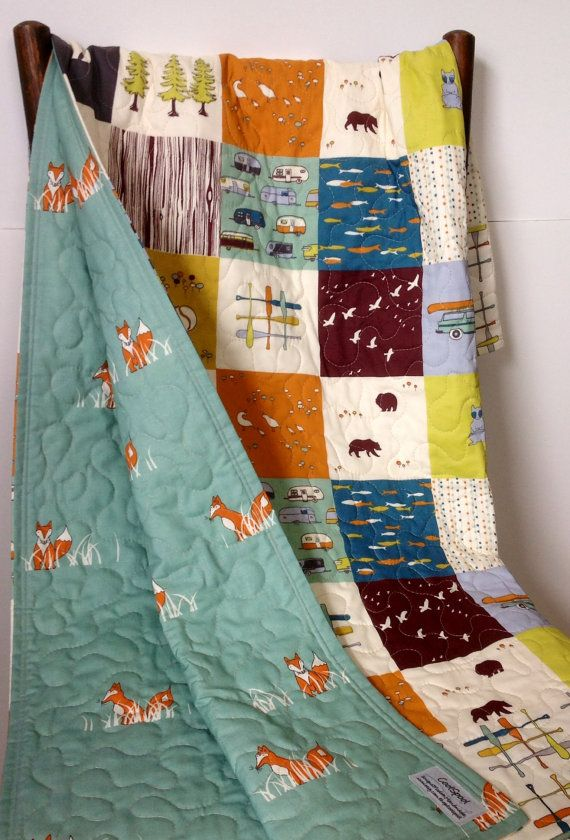 Baby Quilt, Organic, Reversible, Baby Blanket, Camp Sur, Paddle Hatch, Sly Fox, Crib Bedding, Crib Quilt, Baby Bedding, Nursery Bedding