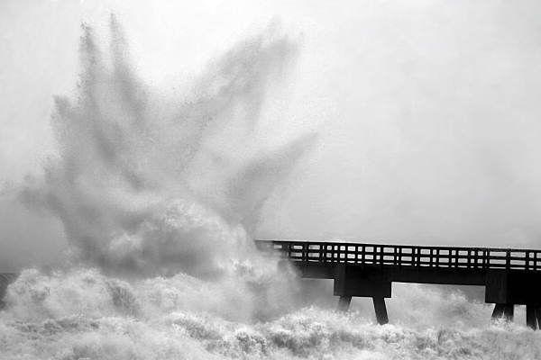 Florida Memory - Waves hit Navarre Pier hard during Hurricane Ivan's approach - Navarre Beach, Florida.