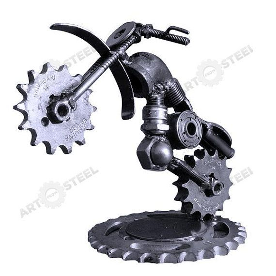 Handmade Motorbike Scrap Metal Sculpture by artfromsteel   #dirtbike #dualsport #motorcycle
