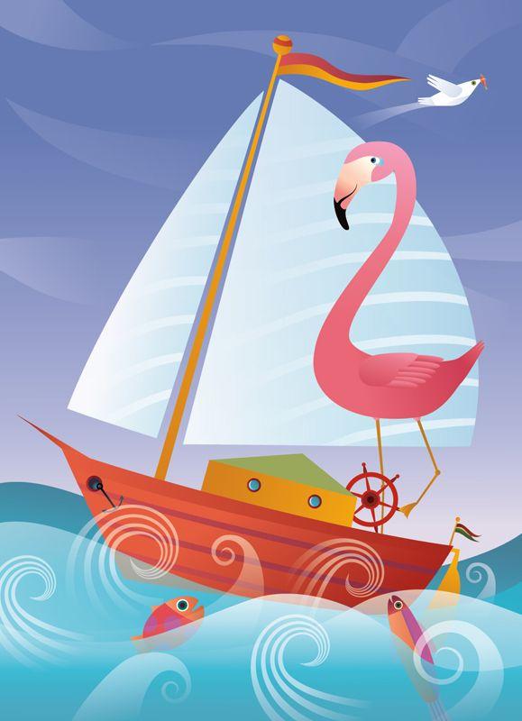 #ChristianeBeauregard #flamingo #sailboat #sailing #digitalillustration #illustration #lindgrensmith #childrensillustration #childrensbook