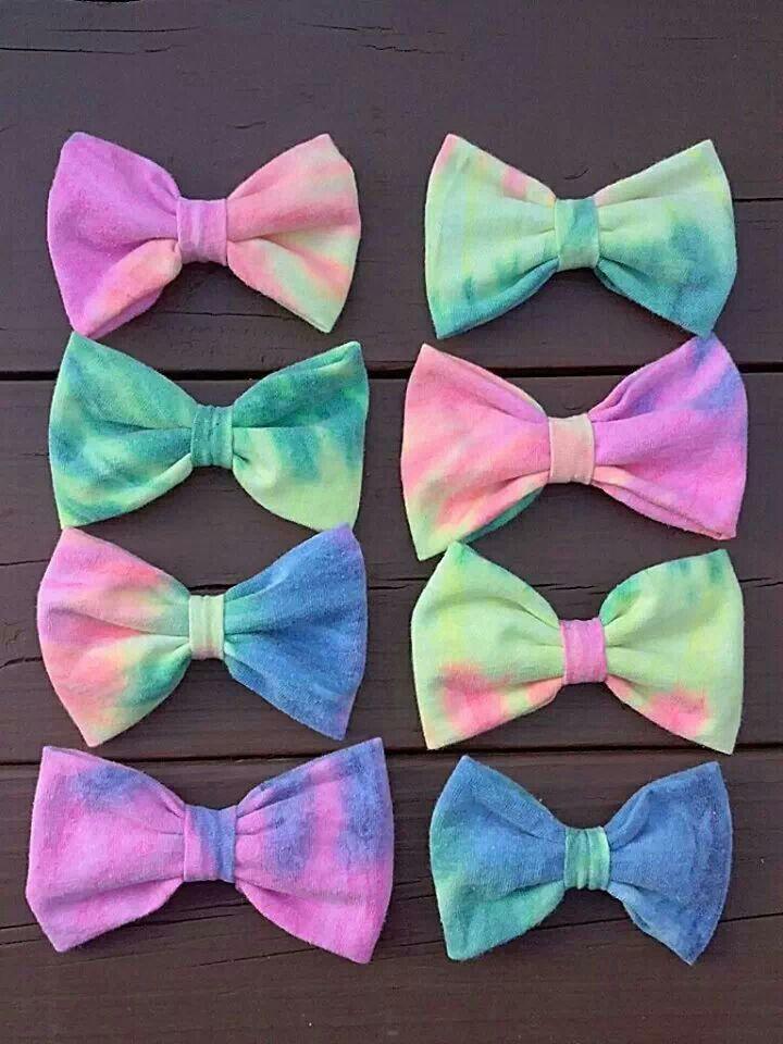 I made these bows out of an old shirt. T shirt bows. Tye dye bows. Recycled bows. Diy bows. Handmade bows. Bows. Hairbows.