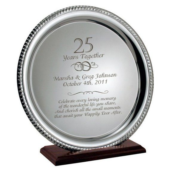 Personalized 25th Silver Wedding Anniversary Platter Gift
